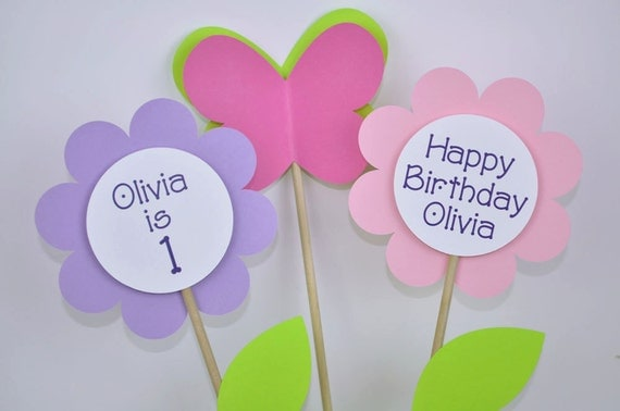 3 Birthday Centerpiece Sticks - Flowers and Butterflies - Personalized - Pinks and Purples