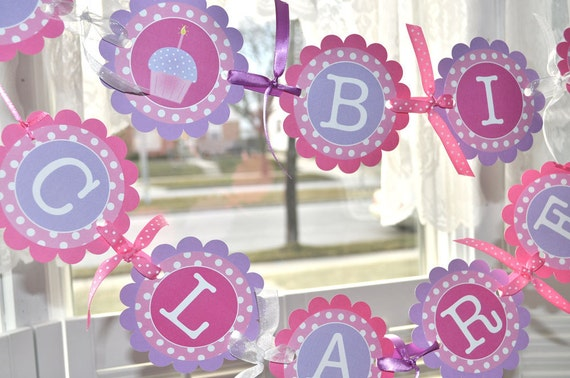 Girls 1st Birthday Banner, Party Banner, Cupcake Birthday Party Banner, Party Decorations, Polkadots Pink, Lavender with Cupcakes