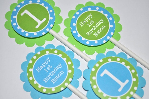 Boys 1st Birthday Cupcake Toppers Boys Birthday Party Decorations