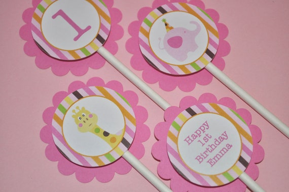 12 Cupcake Toppers 1st Birthday - Elephant and Giraffe Stripes