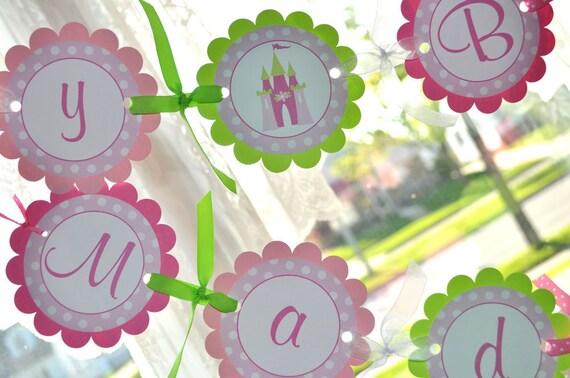 Girl's Birthday Banner Princess - Dark Pink, Light Pink and Lime Green