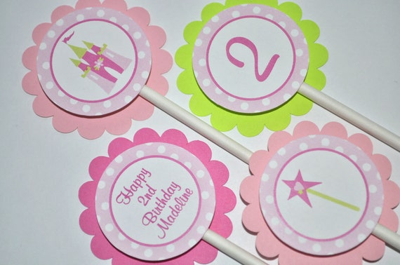 Princess Cupcake Toppers - Princess Birthday Party Decorations - Girls 1st Birthday - Princess Party - Set of 12