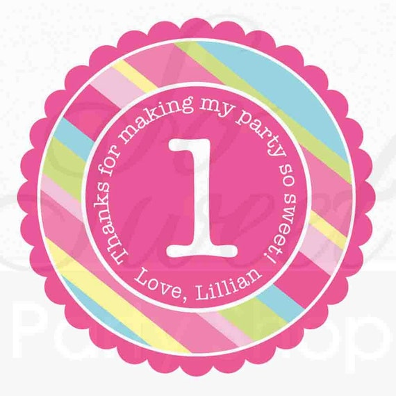 24 Girl's Birthday Party Favor Sticker Labels - Personalized - Girls Birthday Party Decorations