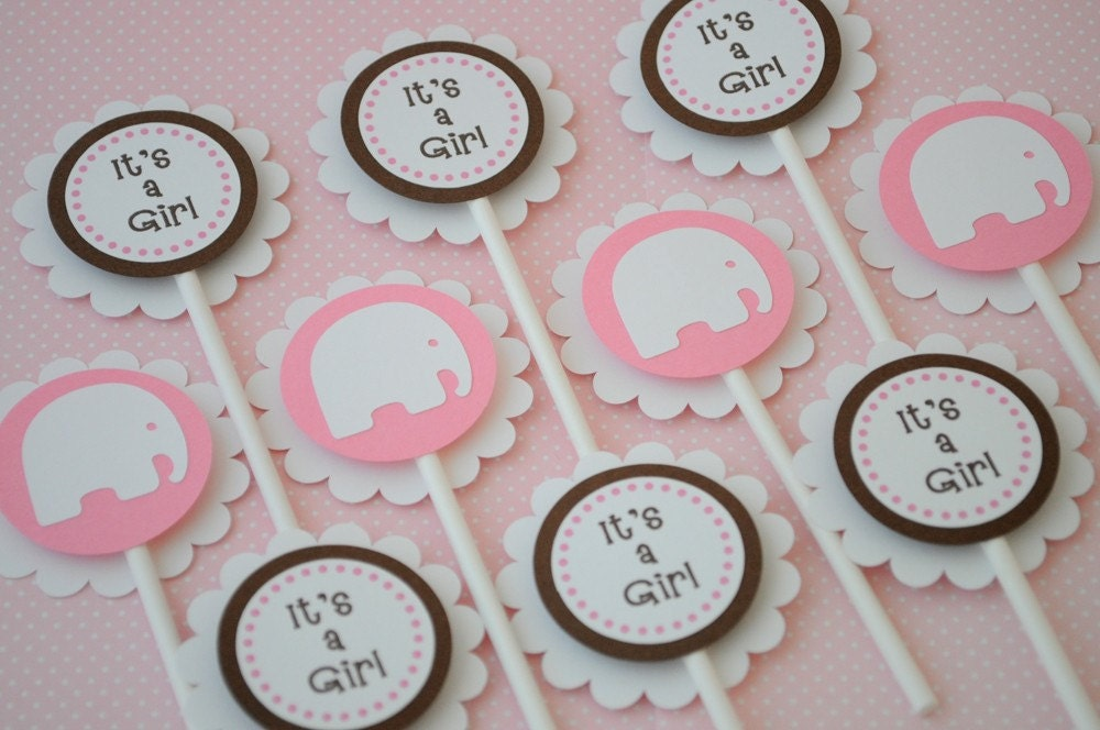 elephant baby shower cupcake toppers girls elephant baby