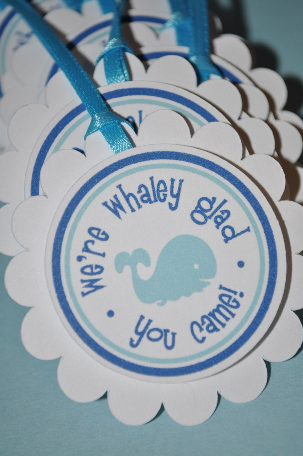 12 whale party favor tags baby shower or by sosweetpartyshop