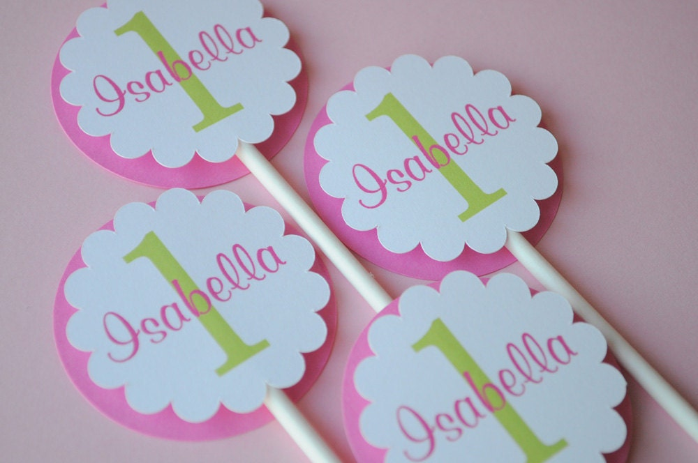 Cake Toppers 1st Birthday Girl : Cupcake Toppers Girls 1st Birthday Party Birthday Party