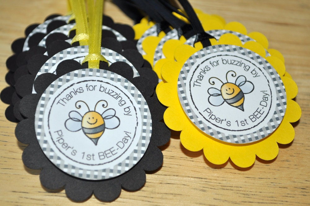 12 Birthday Party Favor Tags Bumble Bee Theme Happy