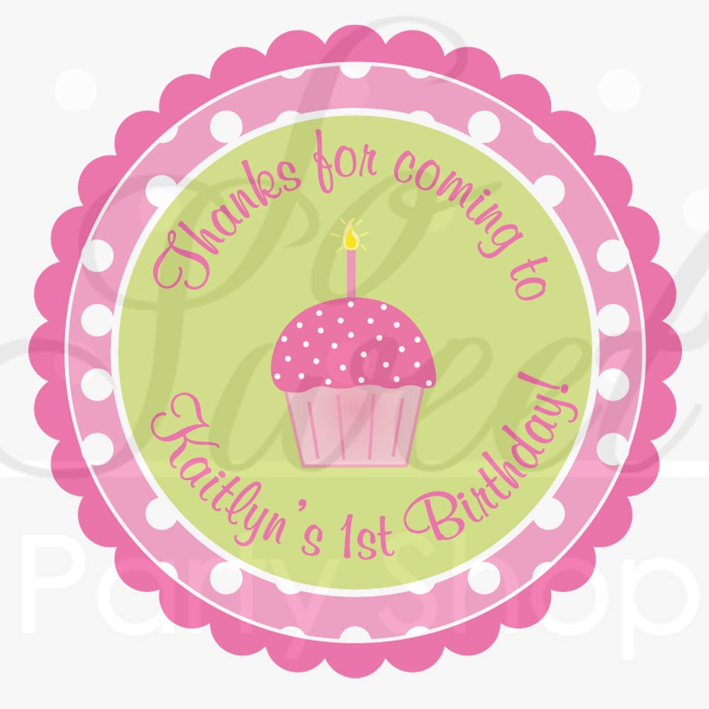 A Cupcake Themed 1st Birthday Party With Paisley And Polka: Birthday Favor Sticker Labels Girls 1st Birthday Pink And