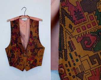 Southwestern Leather Vest with Geometric Print Suede