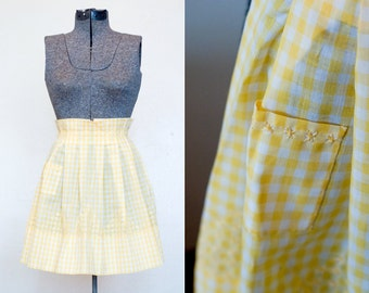 Vintage Apron in Sunshine Yellow Gingham