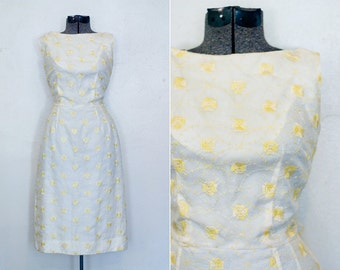 Vintage Floral Dress Lace Overlay 50s Yellow Summer
