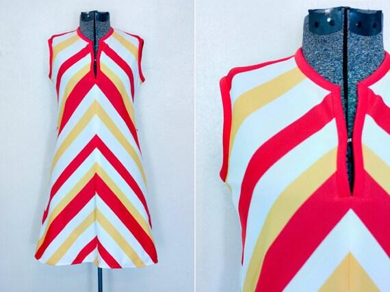Handmade Chevron Stripe Dress 60s Shift Sleeveless