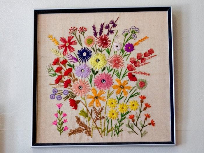 Vintage Crewel Floral Framed Embroidery
