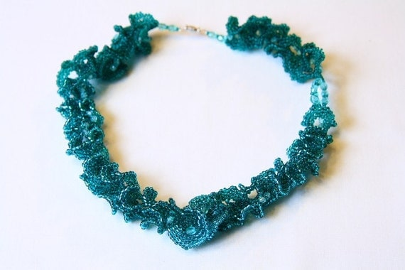 Beadwoven necklace choker, beadwork curly green teal handmade gift for her