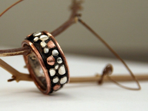 Sterling silver and recycled copper wedding band , mens ring