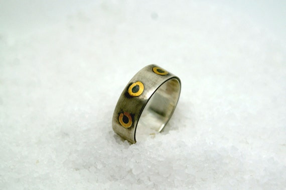 Silver and 22k gold wedding band Man or woman unique promise ring alternative wedding ring made to order
