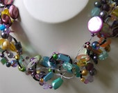Multicoloured unique light and chunky necklace