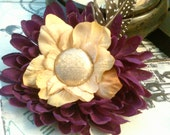 Khaki and Purple Flowers and Feathers Hair Fascinator