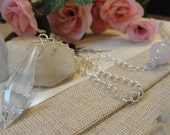 Rose Quartz and Crystal Pendulum on Silver Chain