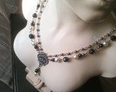 Mala Two Strand, Gypsy, Bohemian Necklace in Black, Pearl and Burgundy