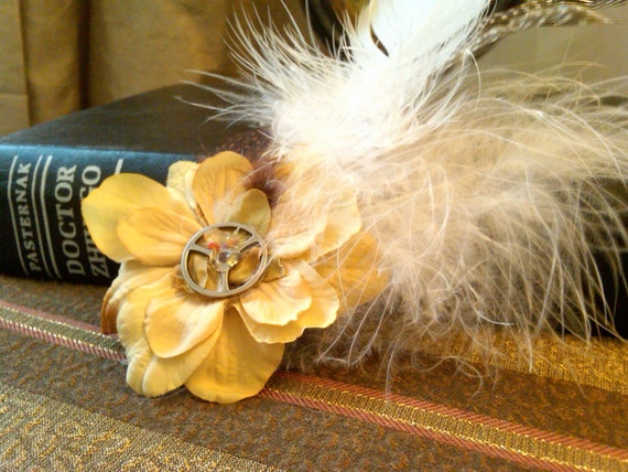 Gears and Feathers Steampunk Flower Hair Fascinator or Accessory Clip