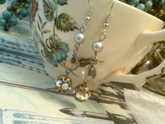 Upcycled Vintage Victorian Earrings in Silver and White