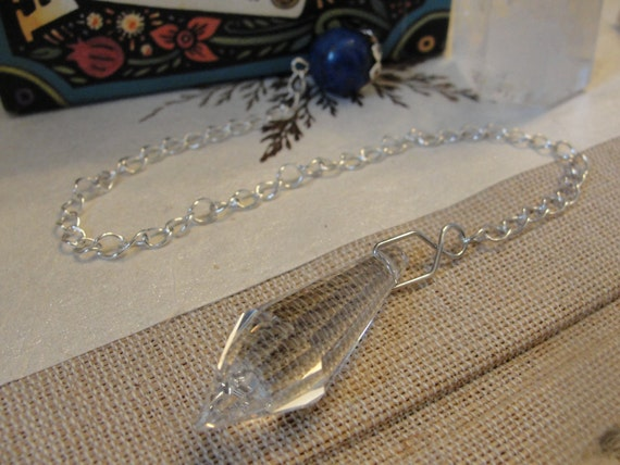 Blue Lapis and Crystal Pendulum on a Silver Chain