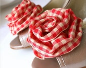 ROSE BLOSSOM - COUNTRY GIRL Red and Cream Plaid Ribbon Shoe Clips