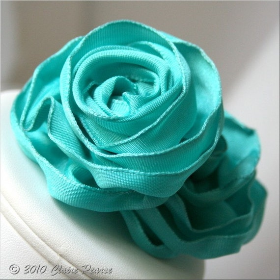 ROSE BLOSSOM - Turquoise Blue Ribbon Shoe Clips