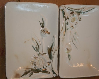 Pair of Vintage Ucagco Shabby Sunflower Ashtrays or Dresser Dishes