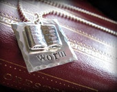 SALE - Book Worm Necklace Sterling Silver Hand Stamped
