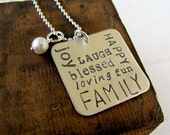 Subway Art - Family Hand Stamped Necklace - Typography - Sterilng Silver