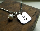 One Initial Square Charm Necklace - Hand stamped initial jewelry  - Personalized necklace with Freshwater pearl