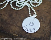 Paw Print Necklace - Pet Lovers - Hand Stamped Jewelry - Personalized Sterling Silver