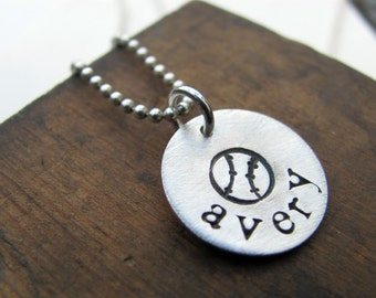Baseball or Softball Personalized Necklace Hand Stamped Custom Name Sterling Silver