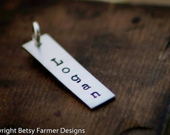 Rectangle Tag Only - Hand Stamped Sterling - Personalized - Custom Names