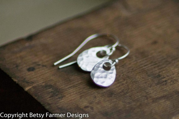 Simple Dainty Teardrop Sterling Silver Earrings - Rustic Hammered Finish