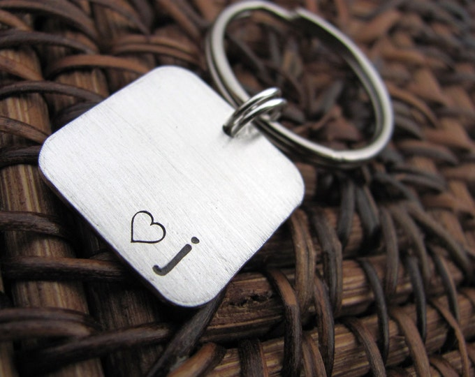 Initial Keychain -  Hand Stamped Sterling Silver Keychain