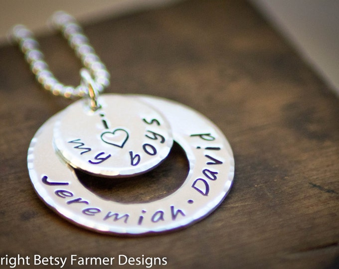 I Love My Boys - Hand Stamped Jewelry - Mommy Necklace - I heart my boys - Sterling Silver - Mom of Boys - Made to ORDER