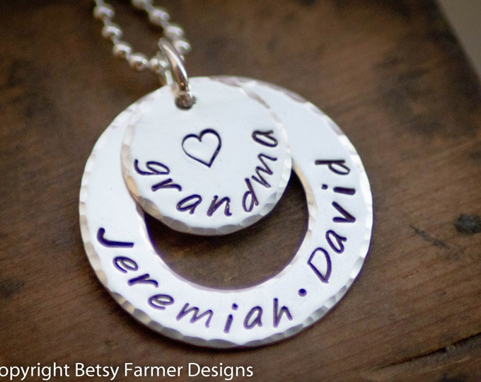 Grandmother Gift - Grandkids Necklace for Grandma Grandchildren Jewelry  Hand Stamped Sterling Silver Mothers Day Gift  Betsy Farmer Designs