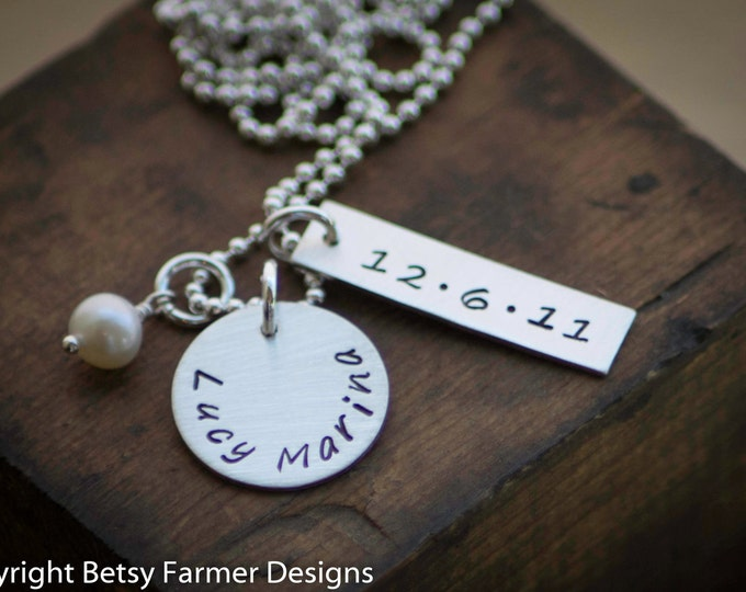 New Baby Jewelry - Personalized Sterling Silver Necklace - For Mom - Birthdate - Custom