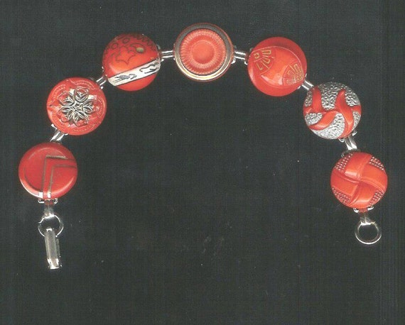 1900s Red Glass Button Bracelet