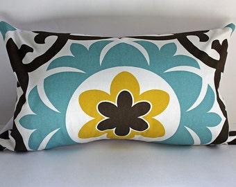 Modern Suzani Pillow Cover-  12x 20- Modern Boho Pillow- Moroccan Pillow