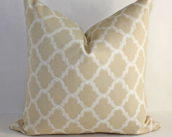 Moorish Trellis Pillow Cover/ 16 x 16 / Tan with Cream Tile Artwork