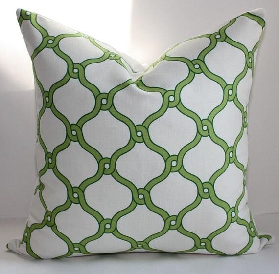 LAST ONE- Trellis Pillow Cover/ 17x17 / Kelly Green & Lime Trellis Design