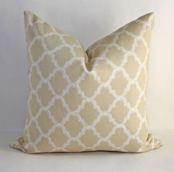 Reserved for Kristin Austin / Two 16x16 Moorish Trellis Pillow Covers / Tan with Cream Tile Artwork