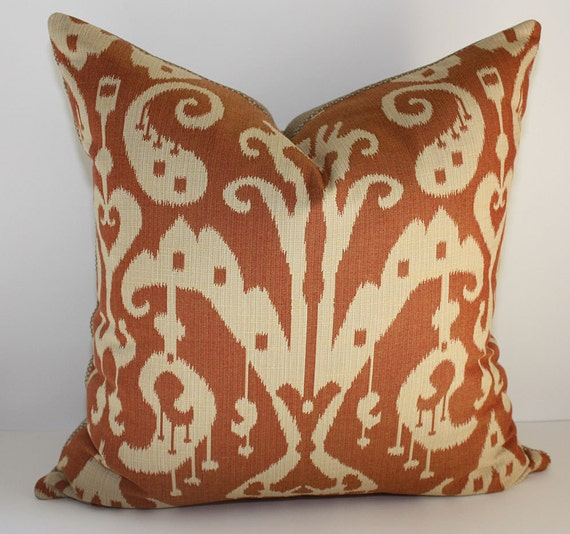 Reserved for Stephanie / One 16x20 Ikat Damask Pillow Cover in Rust & Ecru
