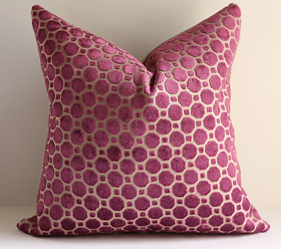 Velvet Pillow Cover / 18 x 18 / Geometric Pattern in Brilliant Magenta