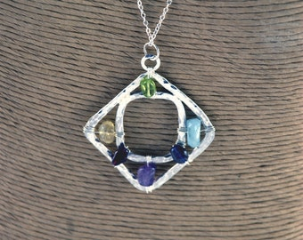 Handmade square within a square pendant necklace