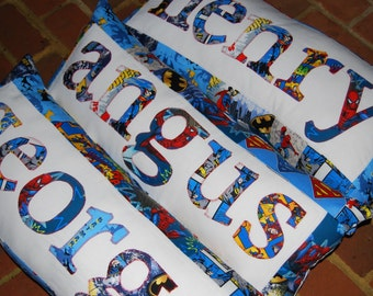 Personalized SuperHero Pillow - Custom Name Pillow - Superhero Birthday - Makes a GREAT GIFT - 6 letter name
